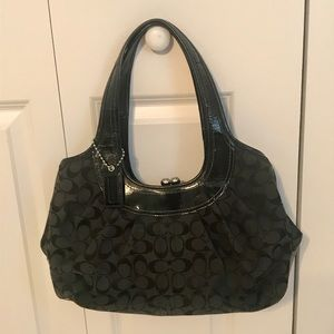 Coach Purse -Black with Plum interior